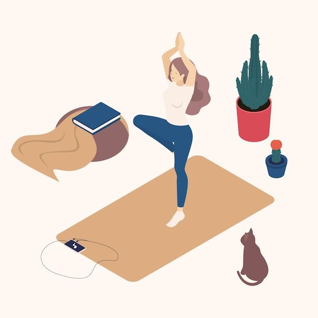 Isometrische jonge vrouw in haar vrije tijd, thuis, het beoefenen van yoga, houding. Premium Vector