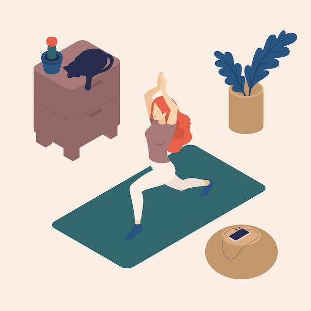 Isometrische jonge vrouw in haar vrije tijd, thuis, het beoefenen van yoga, pose, kat. Premium Vector