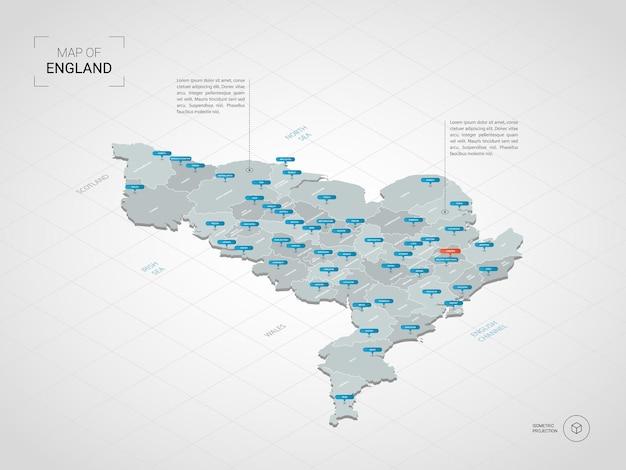 Isometrische kaart van engeland. gestileerde kaartillustratie met steden, grenzen, kapitaal, administratieve afdelingen en wijzertekens; verloop achtergrond met raster. Premium Vector