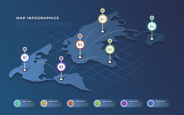 Isometrische kaarten infographics concept Gratis Vector
