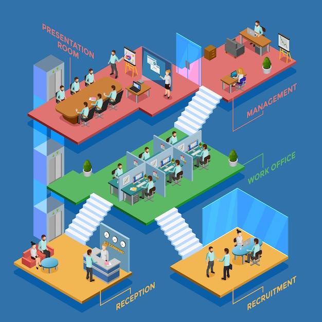 Isometrische kantoor illustratie Gratis Vector
