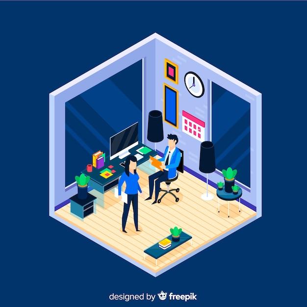 Isometrische kantoor scène achtergrond Gratis Vector