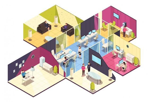 Isometrische kantoorgebouw interieur Gratis Vector