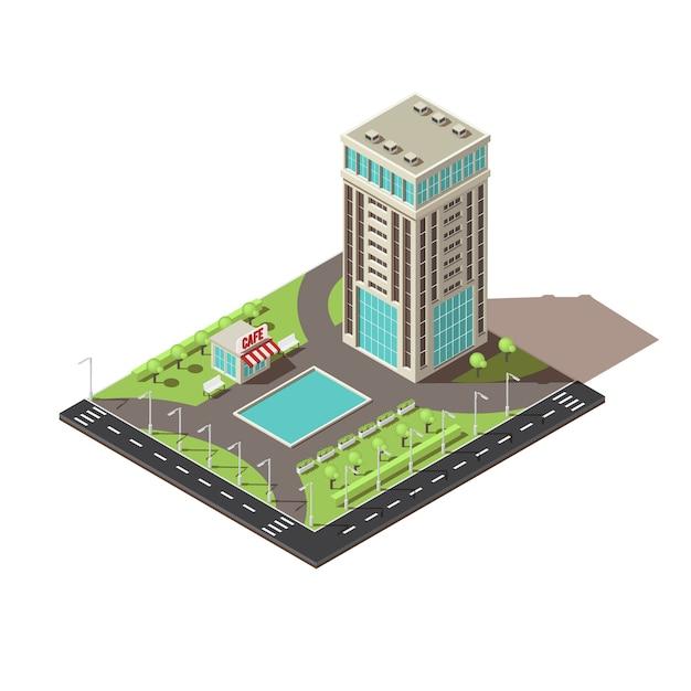 Isometrische kantoorgebouw pictogram ontwerp Gratis Vector