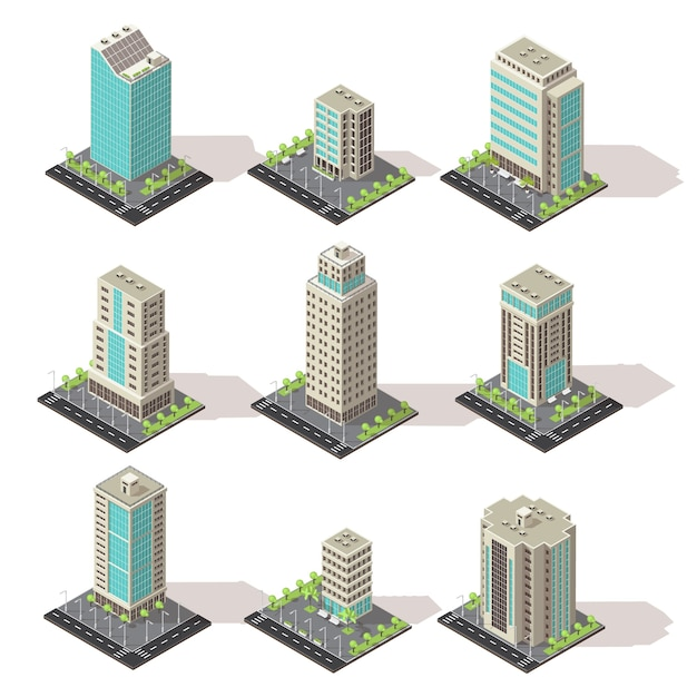 Isometrische kantoorgebouwen pictogramserie Gratis Vector