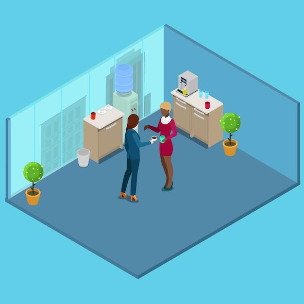 Isometrische kantoorkeuken. mensen uit het bedrijfsleven koffie drinken. vector illustratie Premium Vector