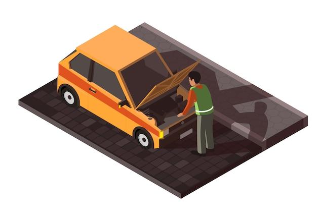 Isometrische kapotte auto met chauffeur Premium Vector