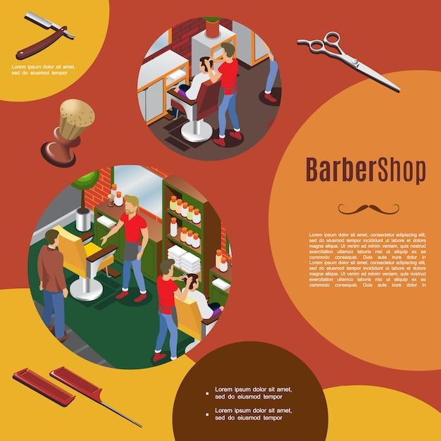 Isometrische kapper kleurrijke sjabloon met kappers en klanten interieur objecten scheermes kammen borstel Gratis Vector