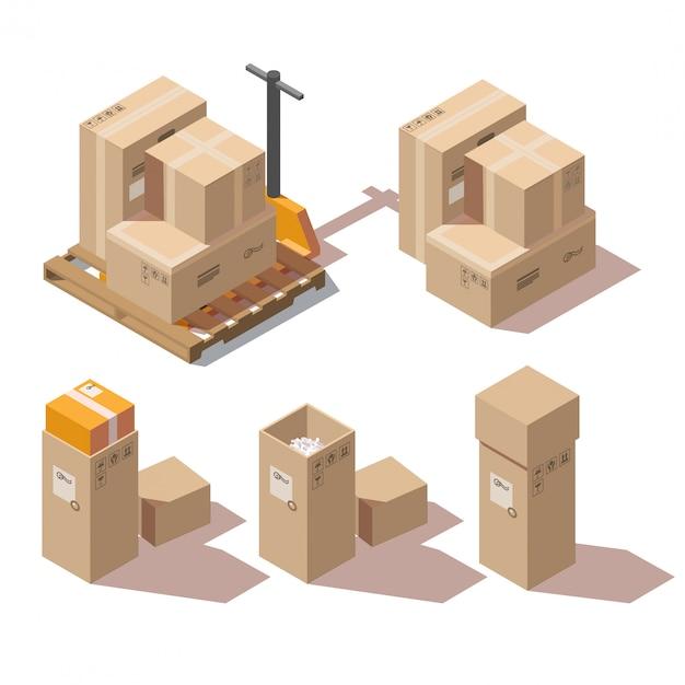 Isometrische kartonnen dozen en handpallettruck Gratis Vector