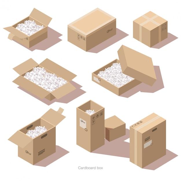 Isometrische kartonnen pakketdozen met vulmiddel Gratis Vector