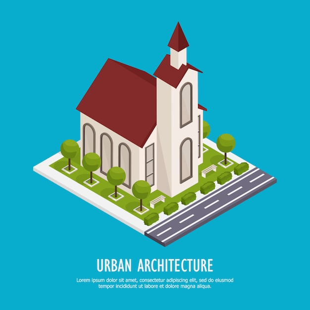 Isometrische kerk met weg Gratis Vector