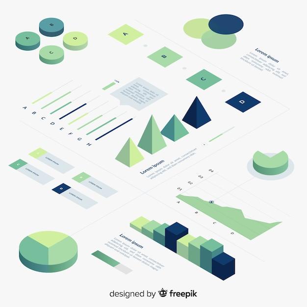 Isometrische kleurovergang infographic element collectie Gratis Vector