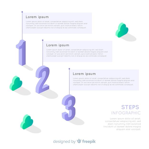 Isometrische kleurrijke genummerde infographic stap Gratis Vector