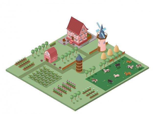 Isometrische kleurrijke landbouw concept Gratis Vector