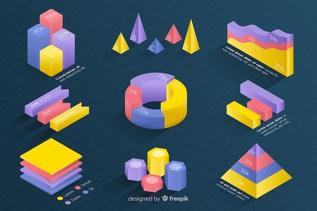 Isometrische kleurrijke statistieksjabloon collectie Gratis Vector