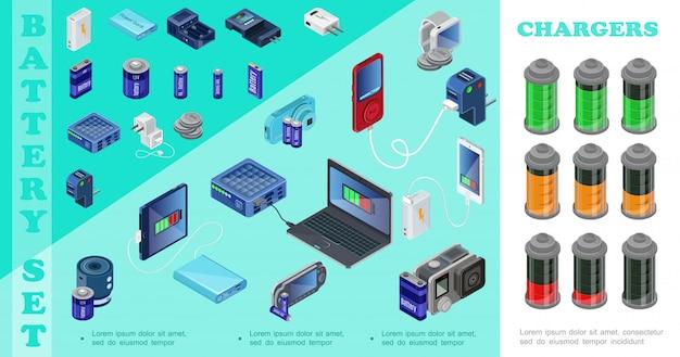Isometrische laders voor moderne apparaten met powerbankstekkers laptop audiospeler mobiele camera draagbare laders batterijen met verschillende laadindicatoren Gratis Vector