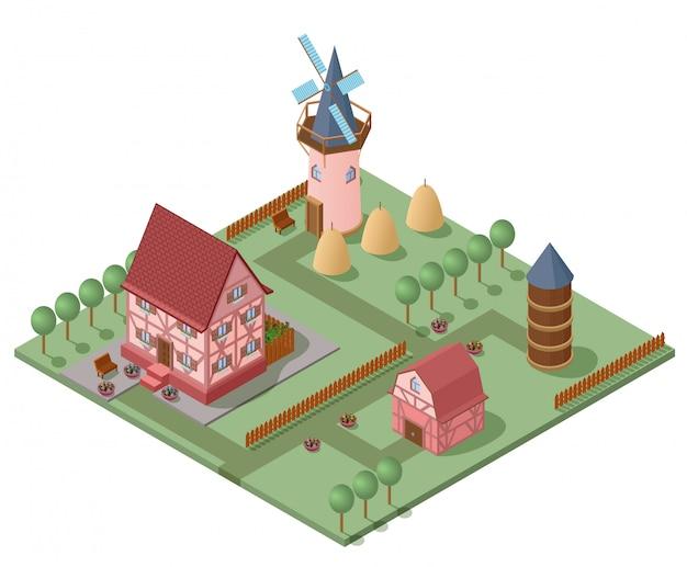 Isometrische landbouw concept Gratis Vector