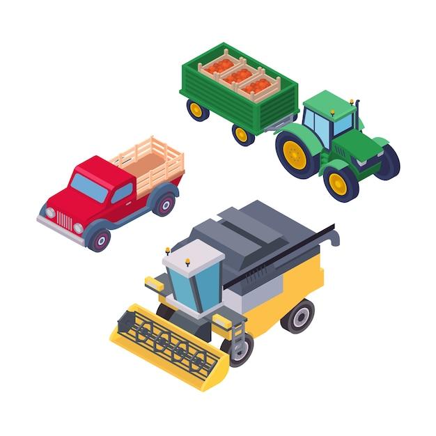 Isometrische landbouwmachines voor veldwerk geïsoleerde set. trekker op wielen met aanhangwagen, pick-up en maaidorser vectorillustratie. bedrijfsvoertuigen voor landbouwbedrijven op het platteland Premium Vector