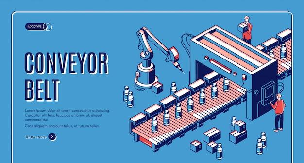 Isometrische landingspagina van de transportband in de fabriek. robotarmen die de productie van melkflessen verpakken op transportlijn. automatisering, slimme industriële robotassistenten. Gratis Vector