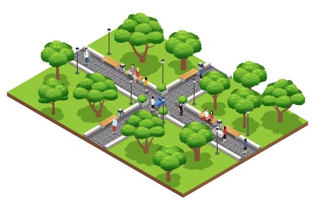 Isometrische landscaping samenstelling met mensen die in groen park in de zomer op witte achtergrond ve lopen Gratis Vector