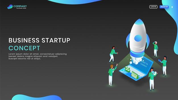 Isometrische laptop met raket voor bedrijf start concept. Premium Vector