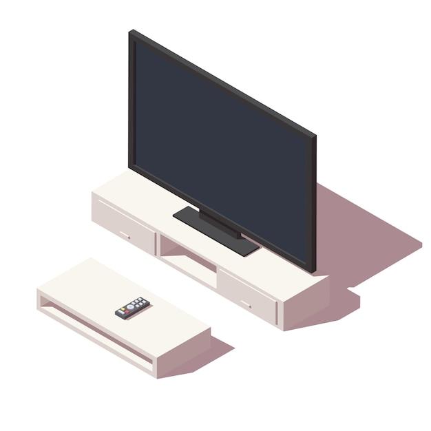 Isometrische led tv-pictogram Premium Vector