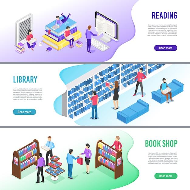 Isometrische lees boek banner sjabloon set. online bibliotheekboeken met bladwijzer, e-boek lezen en onderzoekshandboek Premium Vector