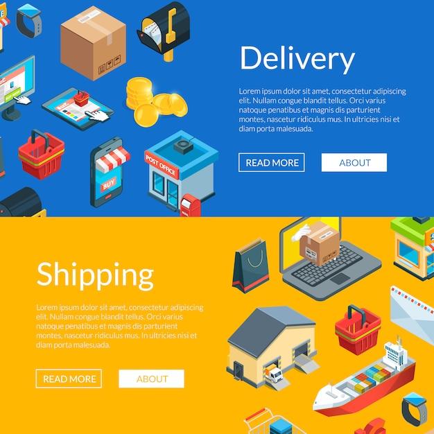 Isometrische logistiek en levering pictogrammen web banner sjablonen illustratie Premium Vector