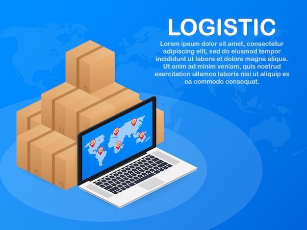 Isometrische logistiek en leveringssjabloon. levering thuis en op kantoor. stadslogistiek. Premium Vector