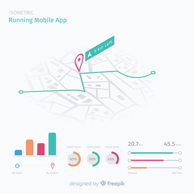 Isometrische lopende mobiele app infographic Gratis Vector