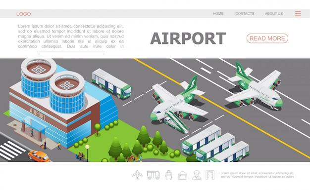 Isometrische luchthaven bestemmingspagina sjabloon met het bouwen van vliegtuig op baanbussen passagiers Gratis Vector