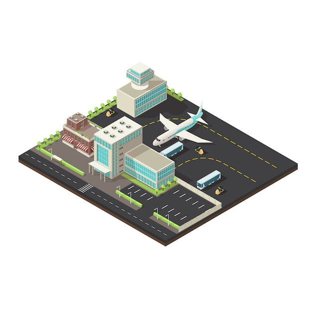 Isometrische luchthaven exterieur concept Gratis Vector
