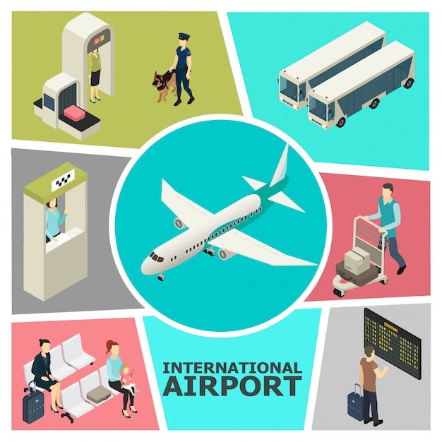 Isometrische luchthaven kleurrijke sjabloon met aangepaste controle incheckbalie passagiers in de wachtzaal bussen vertrek board vliegtuig Gratis Vector