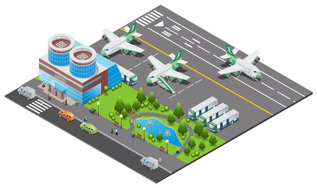 Isometrische luchthaven sjabloon met het bouwen van vliegtuigen aan boord proces bussen ladder vrachtwagen landingsbaan auto's en park Gratis Vector