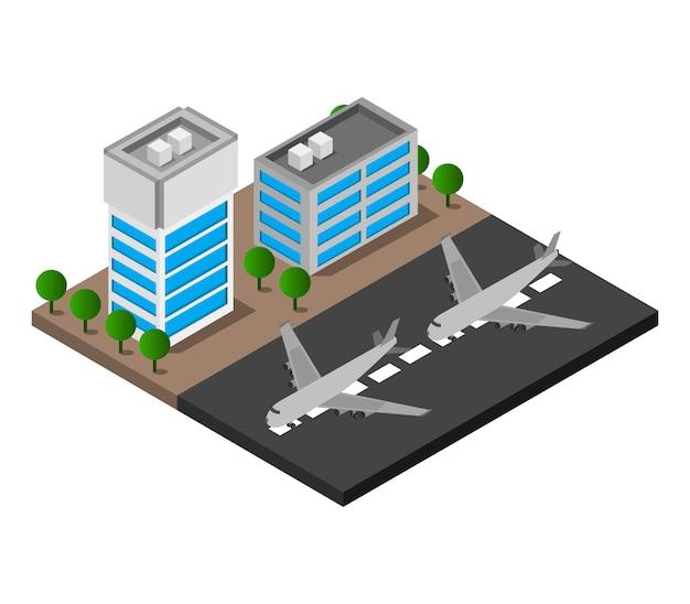 Isometrische luchthaven Gratis Vector