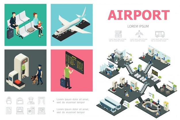 Isometrische luchthavensamenstelling met passagiersvliegtuig, aangepaste bediening, vertrekbord, wachthal, bussen, snackbar, bagagetransportband Gratis Vector