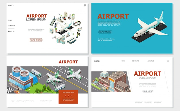 Isometrische luchthavenwebsites collectie met vliegtuiggebouwen maatschappijen van luchtvaartmaatschappijen en paspoortcontroles incheckbalie bussen passagiers roltrap bagageband Gratis Vector