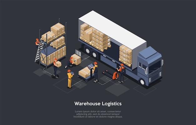 Isometrische magazijn logistiek concept. modern interieur van magazijn, laad- en losproces van bestelwagens. apparatuur voor het afleveren van vracht. vector illustratie. Premium Vector