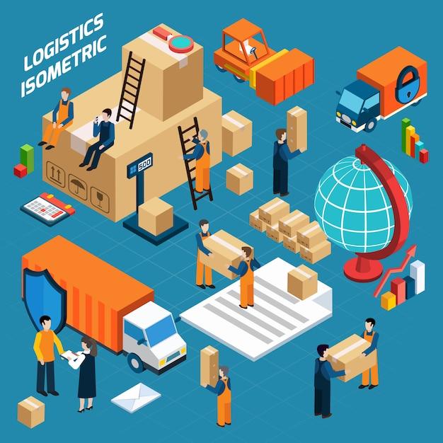 Isometrische magazijn logistiek concept Gratis Vector
