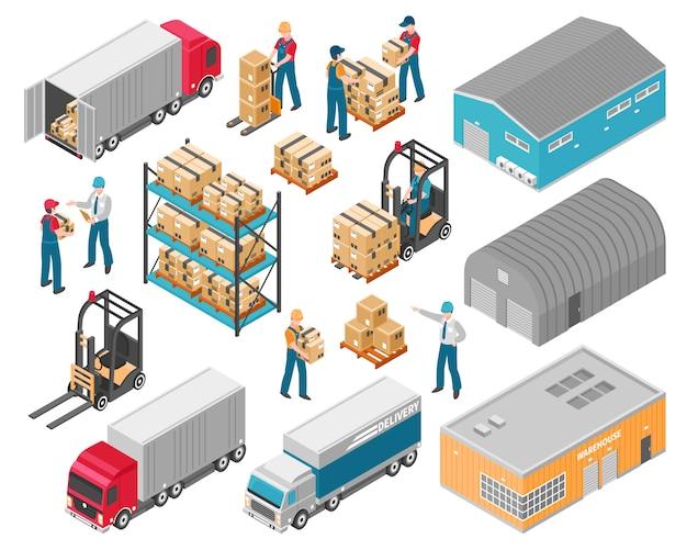 Isometrische magazijn logistieke icon set Gratis Vector
