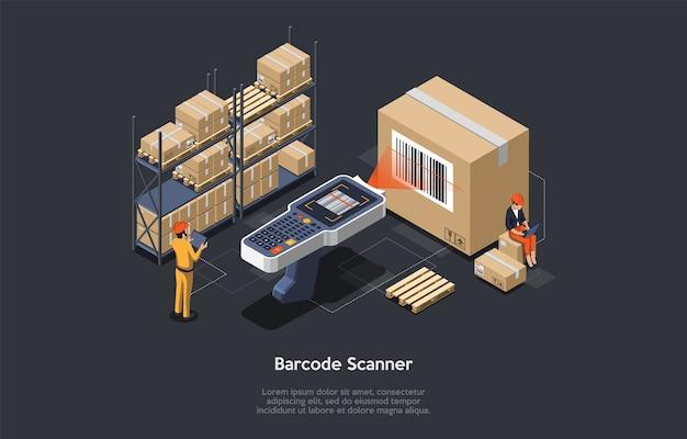 Isometrische magazijnbeheerder of magazijnmedewerker met grote streepjescodescanner controleert goederen. proces van scannen, laden en lossen van goederen. inventarisatie baan. vector illustratie. Premium Vector