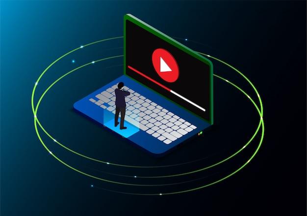 Isometrische man bekijkt online videozelfstudies Premium Vector