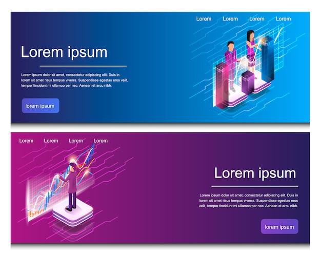 Isometrische man en vrouw betrokken bij online analyse Premium Vector