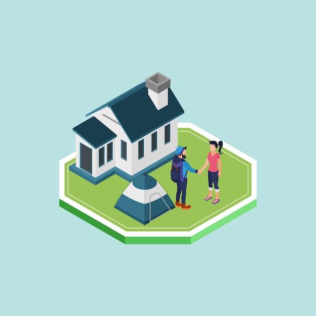 Isometrische man en vrouw handen schudden voor een huis Premium Vector