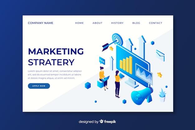 Isometrische marketingstrategie bestemmingspagina Gratis Vector