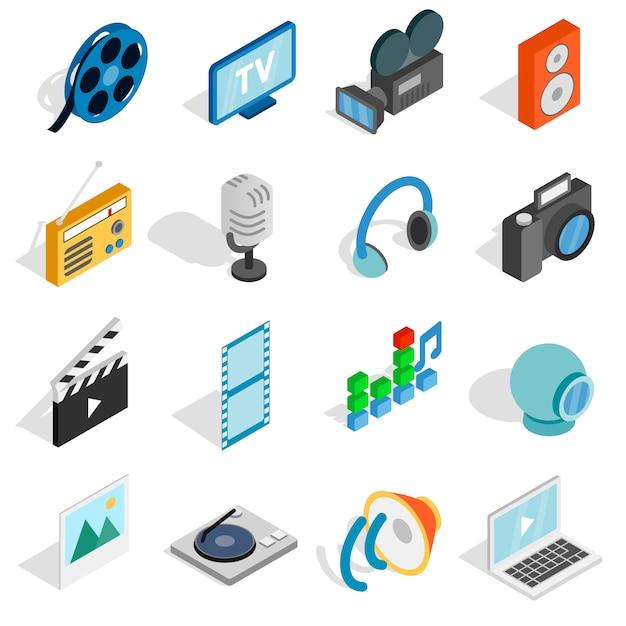 Isometrische media pictogrammen instellen. universele media iconen te gebruiken voor web en mobiele ui, set van fundamentele media-elementen geïsoleerde vectorillustratie Premium Vector