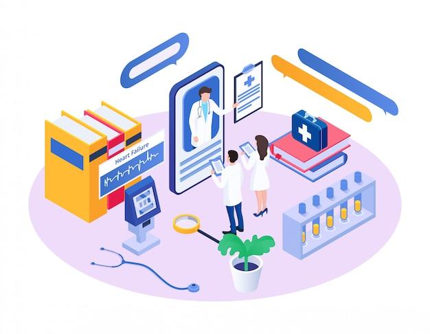 Isometrische medisch adviseur, stripfiguur arts adviseert kleine collega-mensen met behulp van app-smartphone Premium Vector