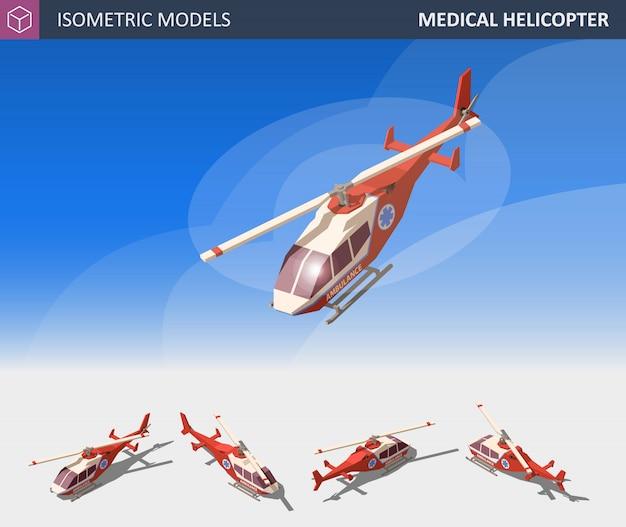 Isometrische medische helikopterevacuatie. air medical service. Premium Vector