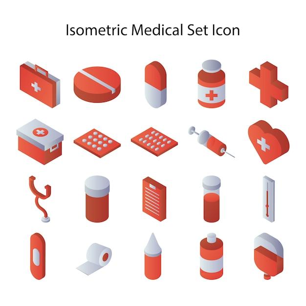 Isometrische medische set pictogram Premium Vector