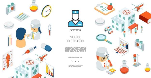 Isometrische medische zorg sjabloon Gratis Vector